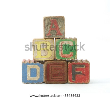 Six Vintage Wooden Blocks With Letters Stock Photo 35436433 ...
