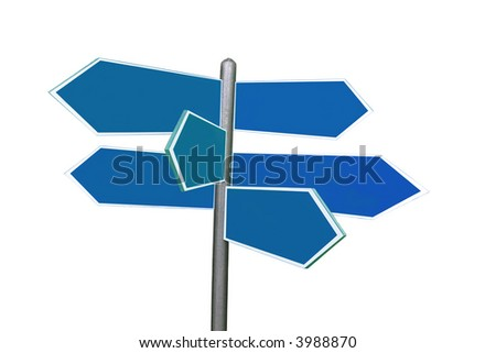 Six-way roadsign isolated over white background