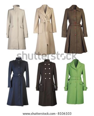 Six woman coats isolated on white background