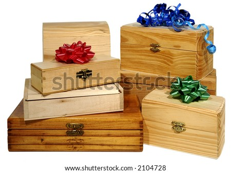 six wooden boxes with bows on white background