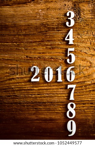 Six years in the future from 2013, 2014, 2015, 2016, 2017, 2018, 2019 on wooden table calendar background #1052449577