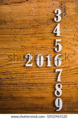 Six years in the future from 2013, 2014, 2015, 2016, 2017, 2018, 2019 on wooden table calendar background #1052965520