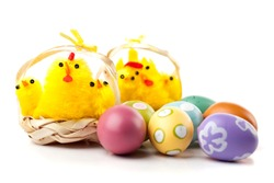 Six yellow chickens in straw baskets. Easter decoration. Painted easter eggs in foreground. Studio photo isolated on white background. Selective focus.
