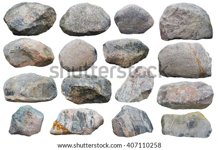 Sixteen big granite stones boulders of various forms and sizes set. Isolated on white collage from several outdoor photos stock photo