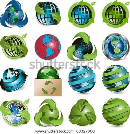 sixteen icons of the globe on white background