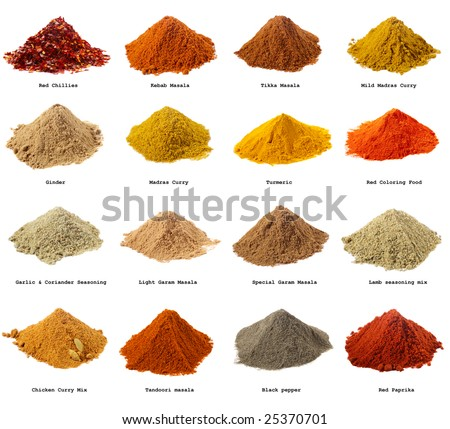 sixteen piles of Indian powder spices with its names isolated on white