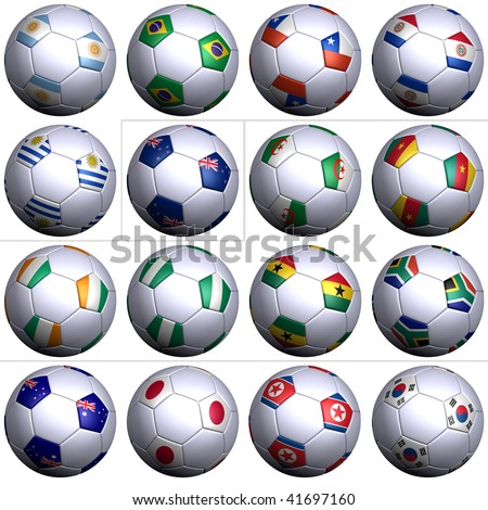 Sixteen soccer balls of Nations competing in the South Africa Soccer World Cup 2010, isolated. South America with 5 teams, Oceania,  Africa with 6 teams, and Asia with 4 teams in alphabetical order.