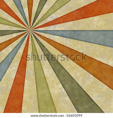 sixties or early seventies retro grungy sunburst swirl
