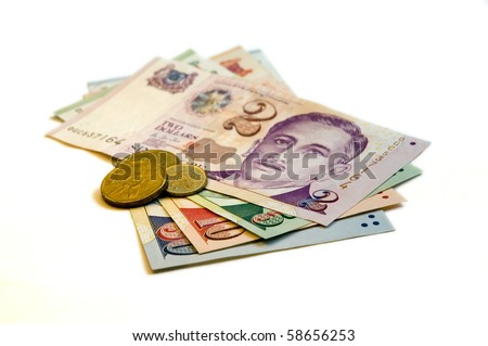 Singapore Dollar Picture on Sixty Seven Singapore Dollars And Change On A White Background  Stock