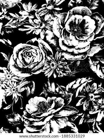 Siyah beyaz çiçek desenli arka fon.Siyah beyaz çiçekler. Stok fotoğraf ©