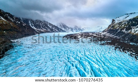 Skaftafell glacier, Vatnajokull National Park in Iceland.