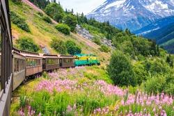 Skagway, Alaska. The scenic White Pass & Yukon Route Railroad.