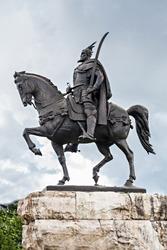 Skanderberg statue in the center, Tirana, Albania