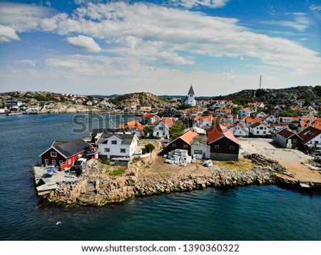 Skarhamn harbor on a sunny summer day.  Located on the Bohuslan Coast, Tjorn, Vastra Gotaland County in Soutwestern Sweden.