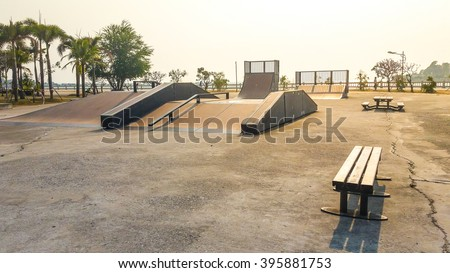 Skate Park in the daytime. Customizable dark tones .