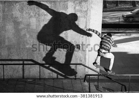 skate, shadow, bulgaria, varna, sport