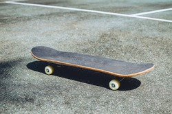 skateboard on an old tennis court, skating concept Copy space