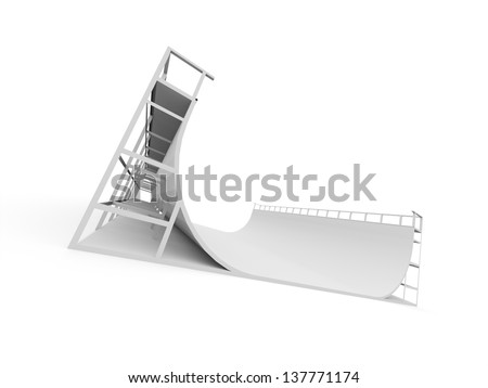 Skateboard ramp rendered and isolated on white background