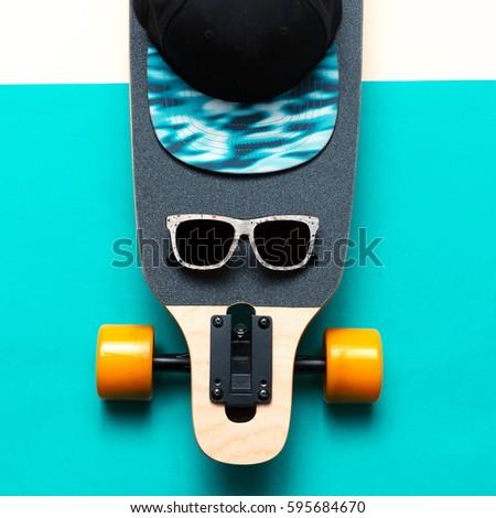 Skateboard, Sunglasses, Cap, Love Urban fashion. Minimal Design Street style