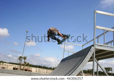 skateboarder in action on a ramp