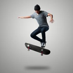 Skateboarder on a high jump