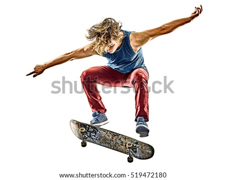 skateboarder young teenager man isolated - Shutterstock ID 519472180