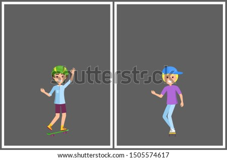 Skateboarding posters set with smiling skaters in protective headgear helmet young skater boys raster banners place for text isolated on grey