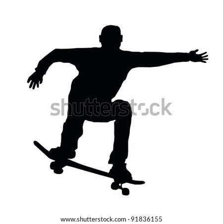 Skateboarding Skater do Ollie Jump with Board