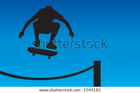 Skater silhouette ollie'ing over a rope fence getting some air.  Contains clipping path.
