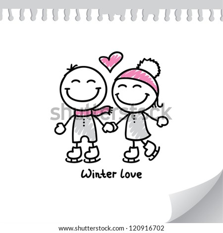 skaters couple on paper page, hand drawn illustration - stock photo