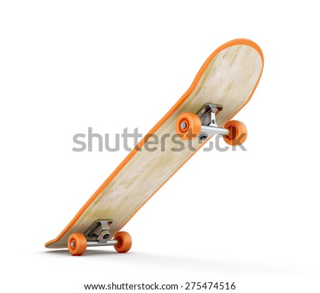 Skating on the move isolated on white background. 3d render image.