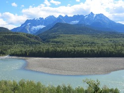 Skeena River and Seven Sisters Mountains in northwest British Columbia