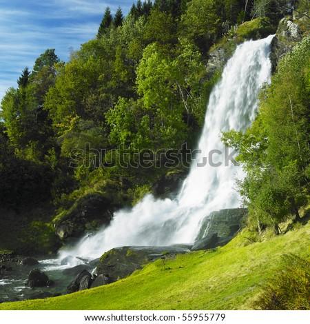 Skeie Waterfall, Norway - stock photo