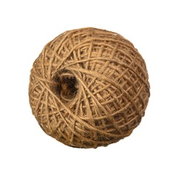 skein of natural linen twine jute on white isolated background