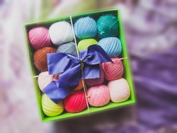 skein yarn in box with bow