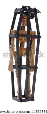 skeleton chained in cage isolated on white background