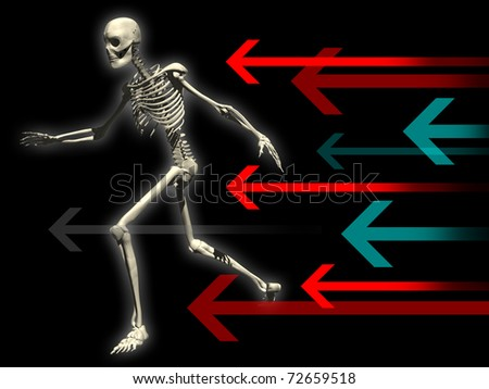 skeleton illustration running pursued by arrows of colors