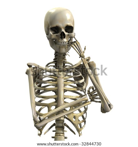 Skeleton In Deep Thought - stock photo