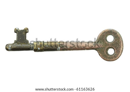 Skeleton key isolated on a white background with clipping path included.