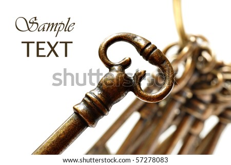 Skeleton key on white background with copy space.  Brass ring with extra keys in soft focus in background.