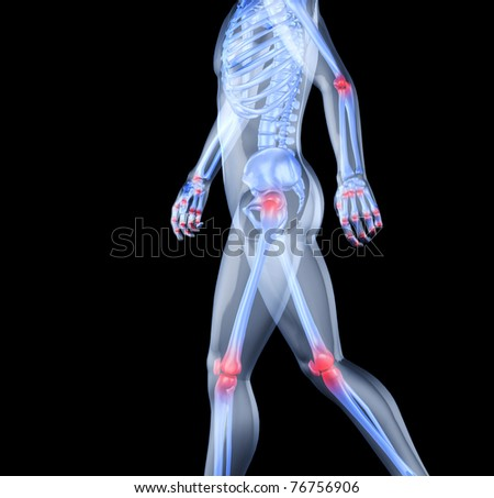 Skeleton of the man with the centres of pains of joints. 3D the image of a man's skeleton under a transparent skin - stock photo