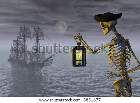 Skeleton Pirate with Ghost Ship 3D render