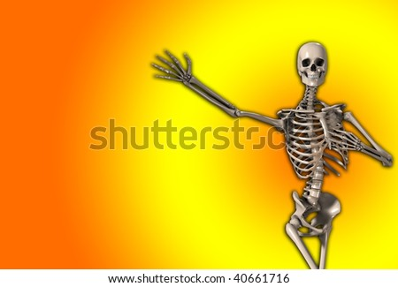 skeleton with an outreached arm