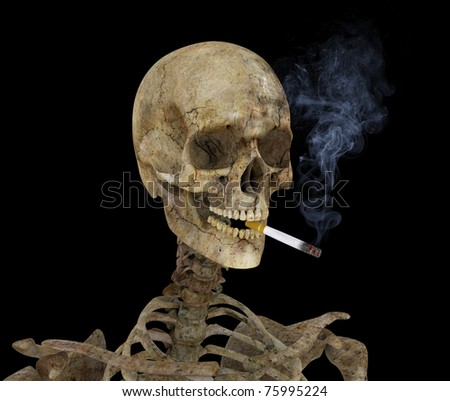 Skeleton with burning cigarette