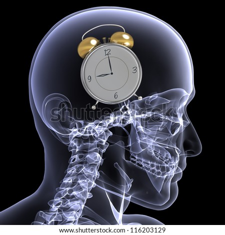Skeleton X-Ray - Alarm: X-Ray of a male skeleton with an alarm clock going off in his head.. Isolated on a black background