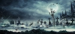 Skeleton Zombie Hands Rising Out Of A Cemetery - Halloween Background
