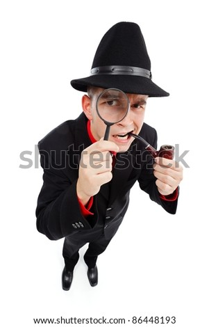 Skeptical detective with pipe in his mouth looking up through magnifying glass