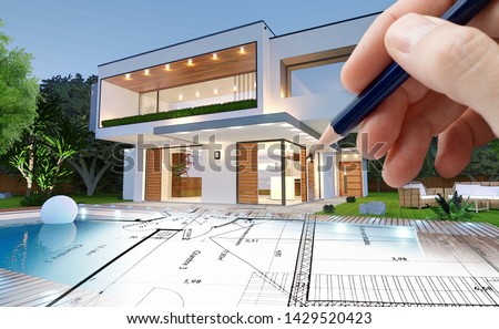 Sketch and 3D rendering of a modern house by an architect  Stockfoto ©