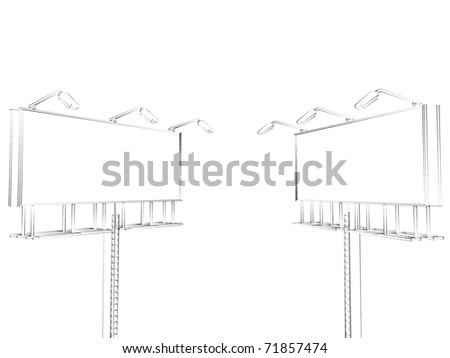 sketch billboards isolated on white background