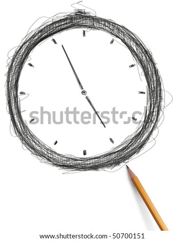 sketch clock with pencil isolated